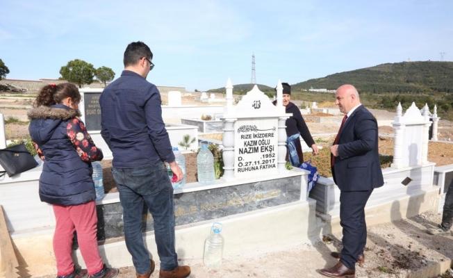Bıyık, Balçık'taki mezarlığı inceledi
