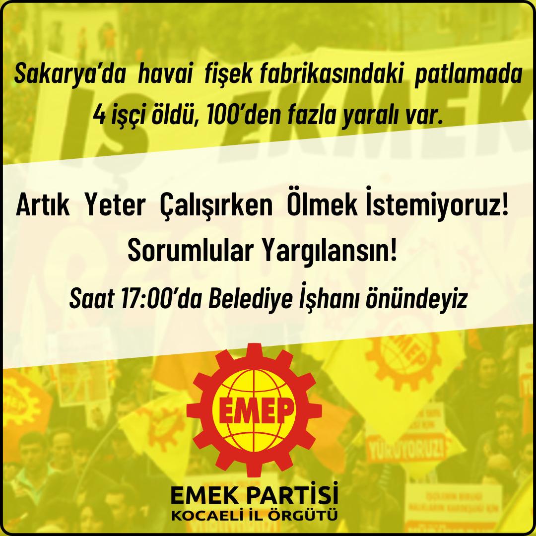 EMEP Sakarya'da yaşanan patlamaya dair eylem yapacak