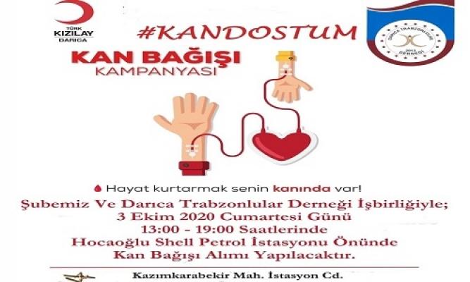"""Darıca'da Trabzonlulardan 'Kan Dostum"""" kampanyası"""